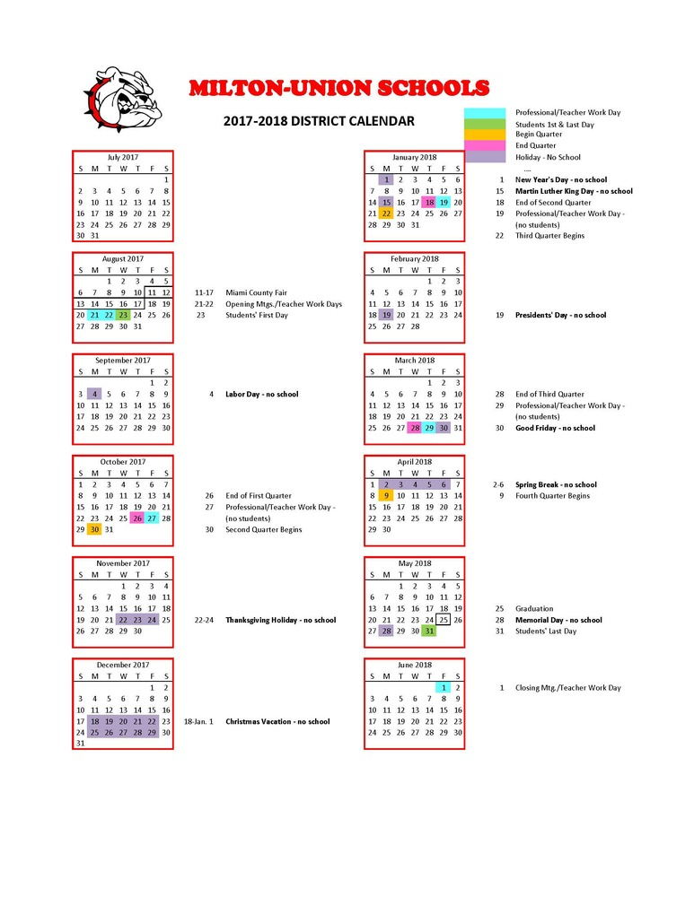 2017 - 2018 District Calendar